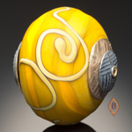 Lampworked Beads, yellow blooms
